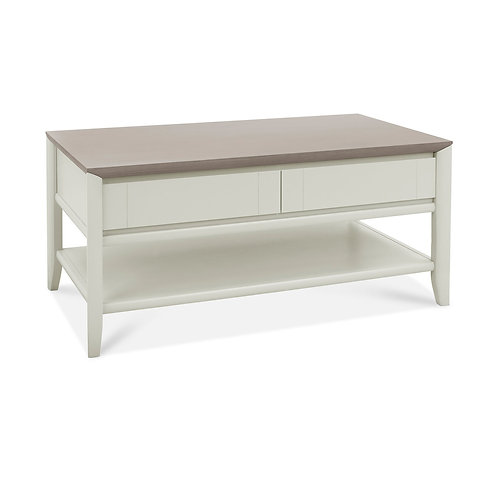 Bergen Grey Washed Oak & Soft Grey Coffee Table With Drawer