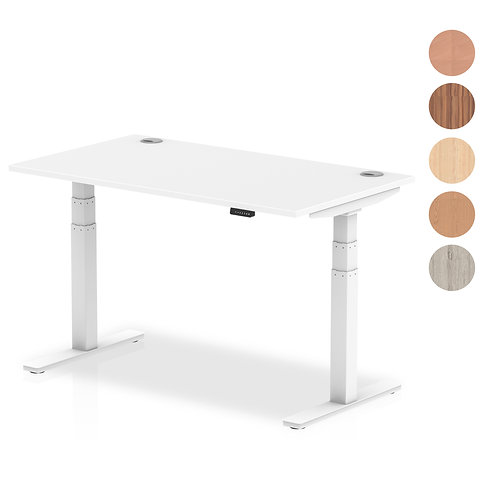 Air Desk with adjustable height and cable ports with white legs
