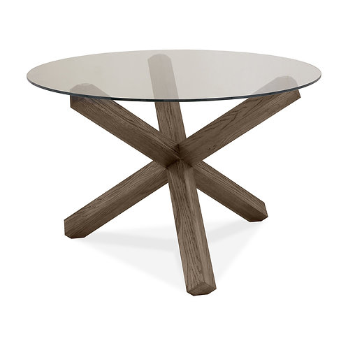 Turin Dark Oak Circular Glass Table