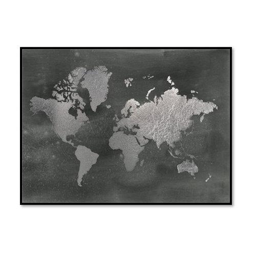 Large Silver Foil World Map on Black - Framed & Mounted