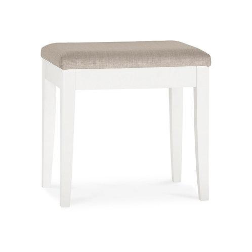 Ashby White Stool - Pebble Grey Fabric