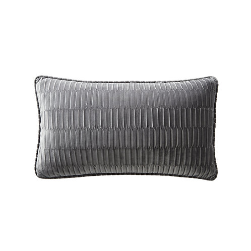Charcoal Velvet Pleat Boudoir Cushion