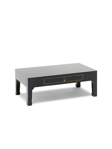 40544 - The Nine Schools Qing Black and Gilt Coffee Table with Drawer