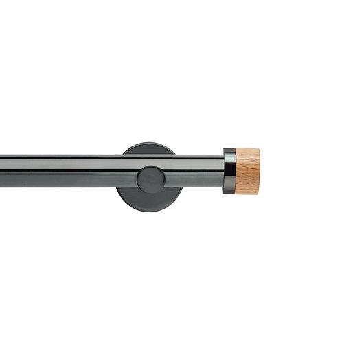 Neo Oak 28 mm Stud Eyelet Curtain Pole Set - Black Nickel