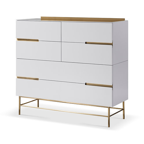 Alberto Six Drawer Wide Chest - White