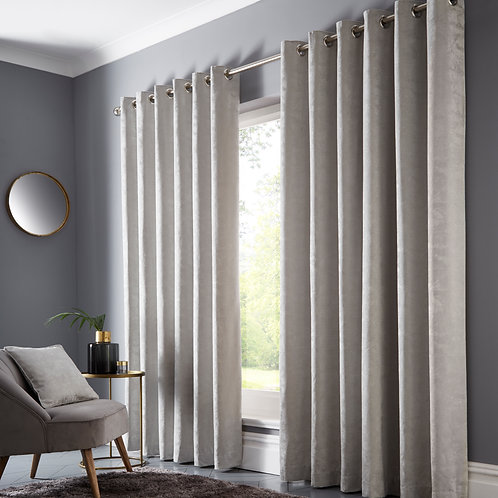 Topia Silver Eyelet Curtains