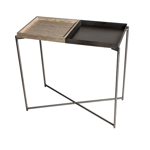 Iris Small Console Table with Tray Tops - Gun Metal Frame