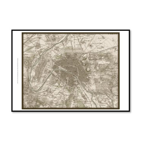 Sepia Map Of Paris  - Framed & Mounted