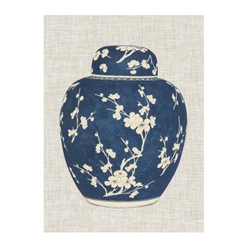 Blue & White Ginger Jar on Linen I - Canvas Art