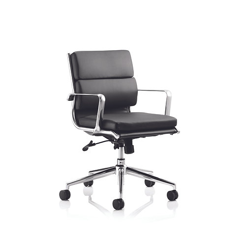Savoy Executive Black Bonded Leather Medium Back With Arms
