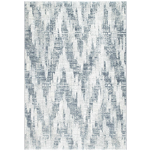 Canyon - Distressed Zig Zag III Rug - Blue/ White