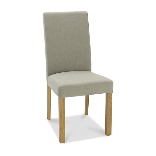 Parker Light Oak Square Back Chair - Silver Grey Fabric (Pair)