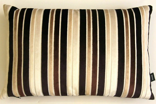 Brown Velvet Striped Cushion