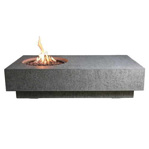 Metropolis HPC Concrete Rectangular Fire Table in Light Grey