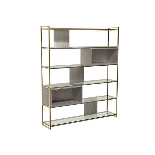 Federico High Bookcase in Brass Frame
