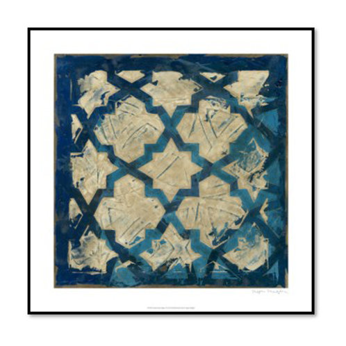 Stained Glass Indigo I - Framed & Mounted
