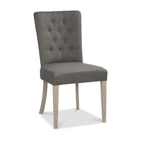 Bordeaux Chalk Oak Uph Chair - Titanium Fabric (Pair)