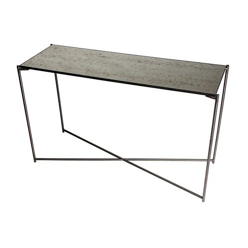 Iris Large Console Table - Gun Metal Frame