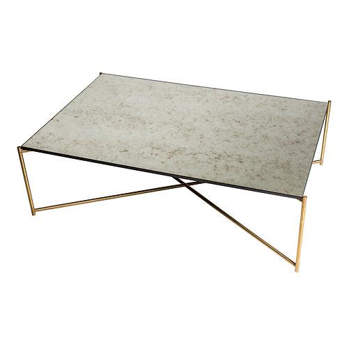 Iris Rectangular Coffee Table - Brass Frame