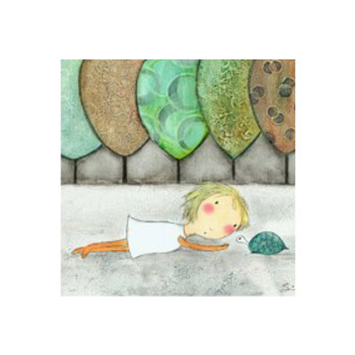 Girl with Turtle - Canvas Art