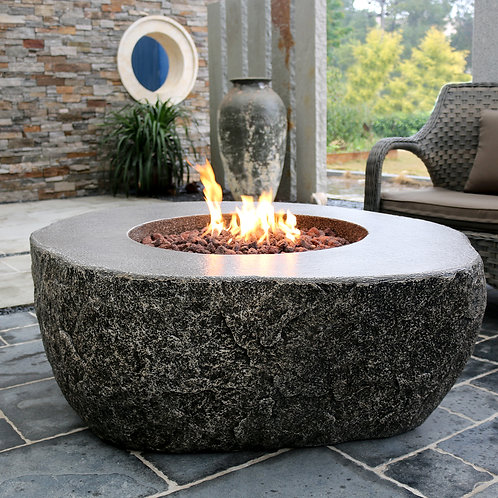 Burning Rock HPC Concrete Round Fire Table in Grey Rock