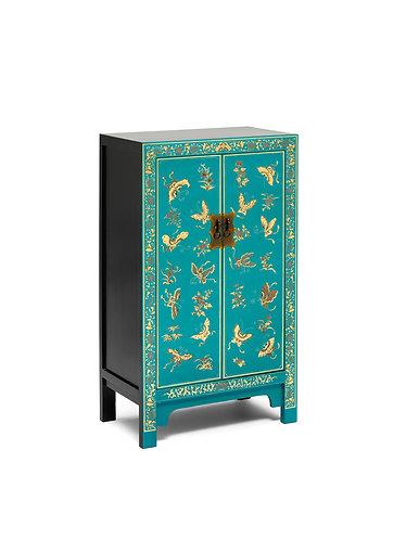 40201 - The Nine Schools Oriental Decorated Blue Medium Cabinet