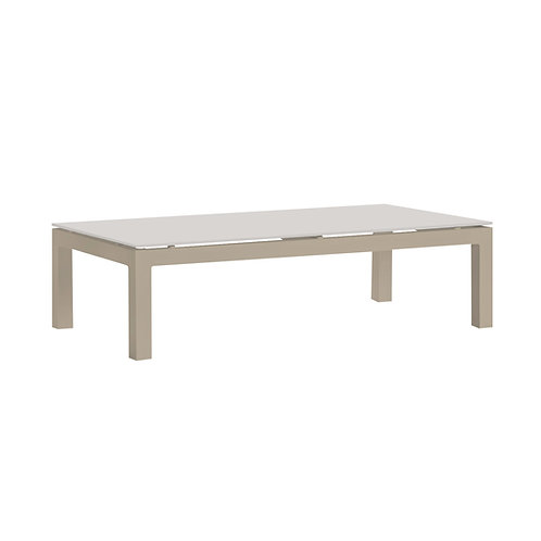 Verona Aluminium Coffee Table in Light Taupe with Cappuccino Glass