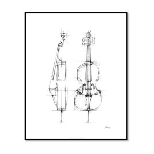 Cello Sketch - Framed & Mounted