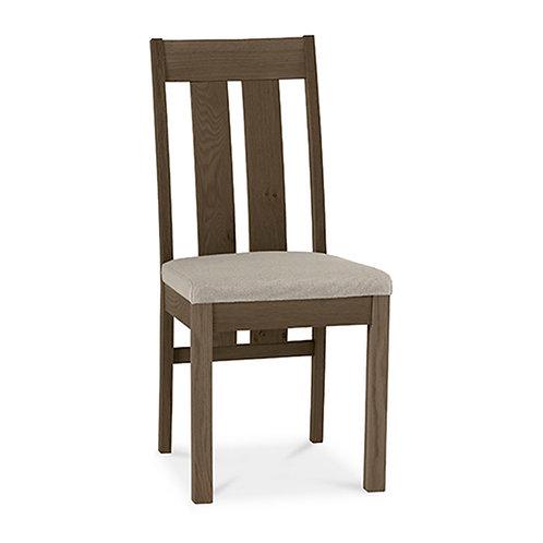 Turin Dark Oak Slatted Chair - Pebble Grey Fabric (Sold in Pairs)