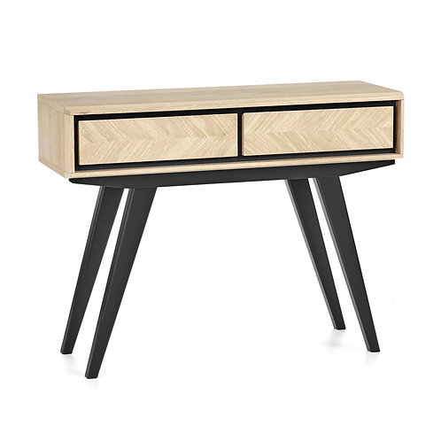 Brunel Chalk Oak & Gunmetal Console Table With Drawers