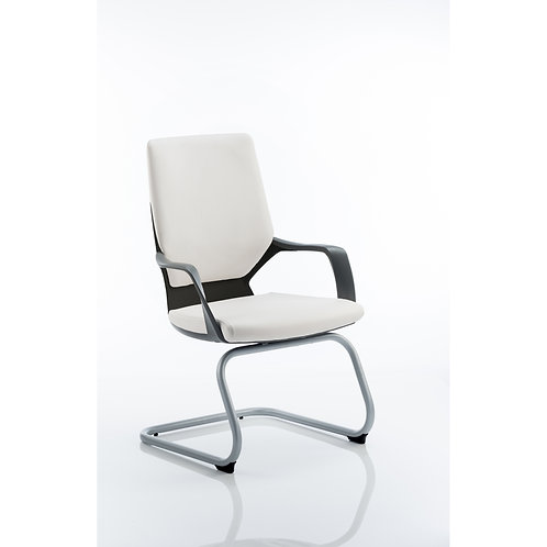 Xenon Visitor Cantilever Black Chair White Leather With Arms