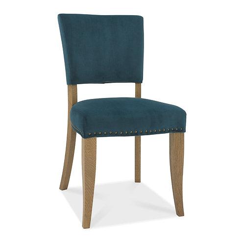Rustic Oak Uph Chair - Sea Green Velvet Fabric (Pair)