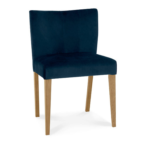 Turin Light Oak Low Back Uph Chair - Dark Blue Velvet Fabric (Sold in Pairs)