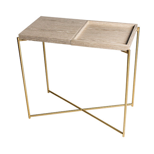 Iris Small Console Table with Tray Top - Brass Frame