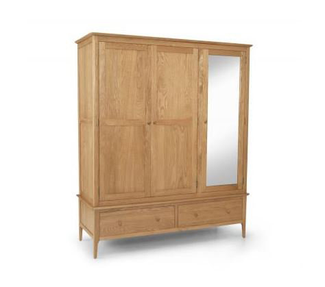 Corbett Oak - Triple Wardrobe with Mirror