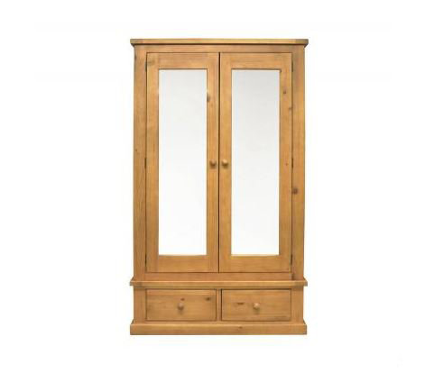 Chunky Pine - Double Wardrobe with Mirrors and Drawers