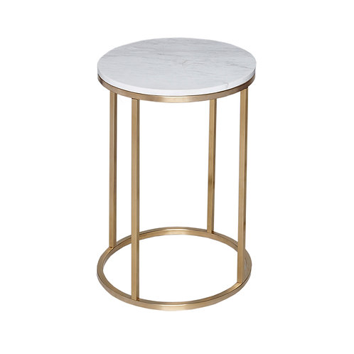 Kensal Circular Side Table - Brass Frame