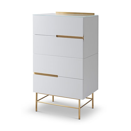 Alberto Four Drawer Narrow Chest - White