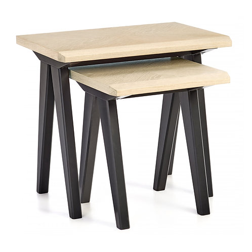 Brunel Chalk Oak & Gunmetal Nest Of Tables
