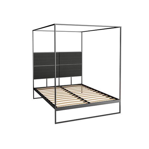 Double Federico Canopy Bed in Matt Black Frame