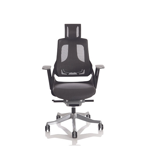 Zure Black Shell Charcoal Mesh With Headrest