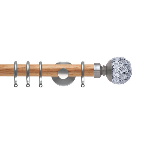 Neo Oak 28 mm Jewelled Ball Curtain Pole Set - Stainless Steel