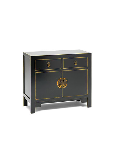40507 - The Nine Schools Qing Black and Gilt Small Sideboard