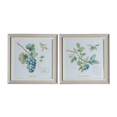 Blueberries Framed Art - Set of 2