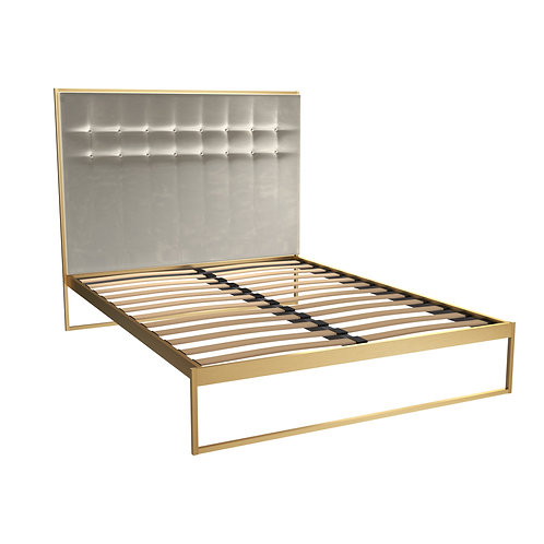 Double Federico Bed & Upholstered Headboard in Brass Frame