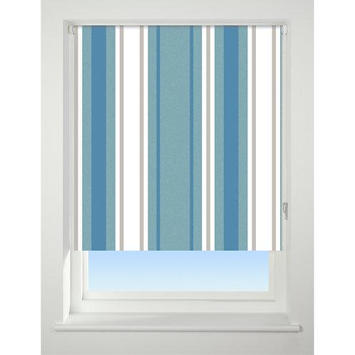 Universal Patterned Blackout Roller Blind - Blue Stripe