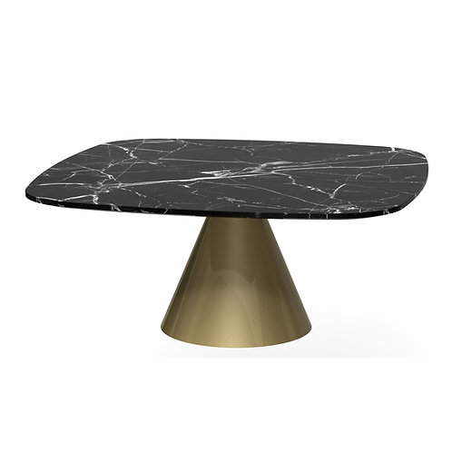 Oscar Small Square Coffee Table - Brass Base