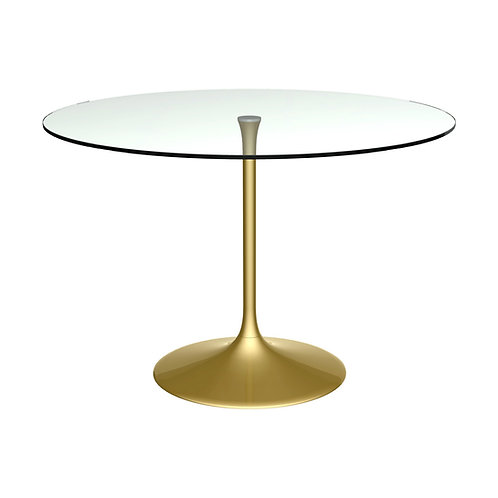 Swan Large Circular Dining Table - Brass Base