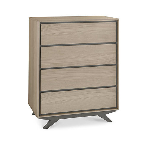 Brunel Scandi Oak & Dark Grey 4 Drawer Chest