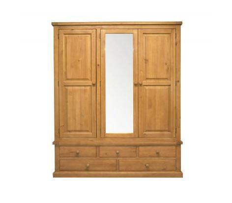 Chunky Pine - Triple Wardrobe with Mirror